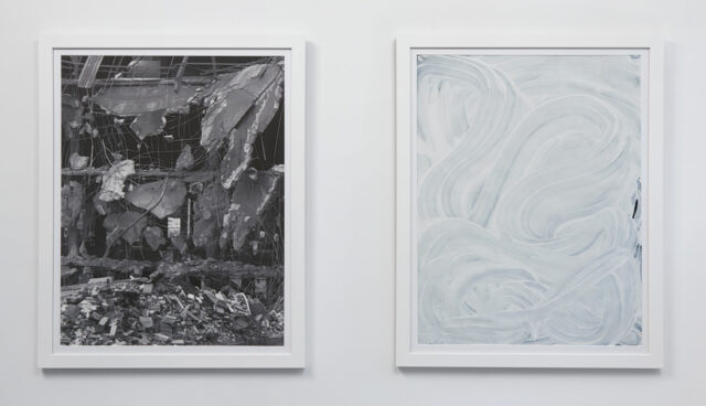 """Left: Photo Wreckage photograph on paper 2017 23.25"""" x 29"""" Right: Hand Painting acrylic painting 2017 23.25"""" x 29"""""""