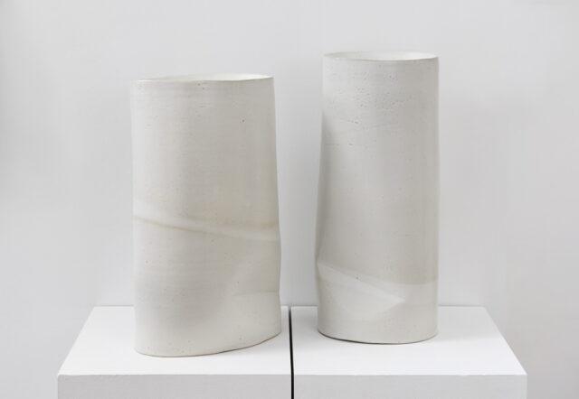 "Second Chance Vases glazed stoneware 2019 19.5"" x 11"" 7.25"" ; 21"" x 9"" x 7"""