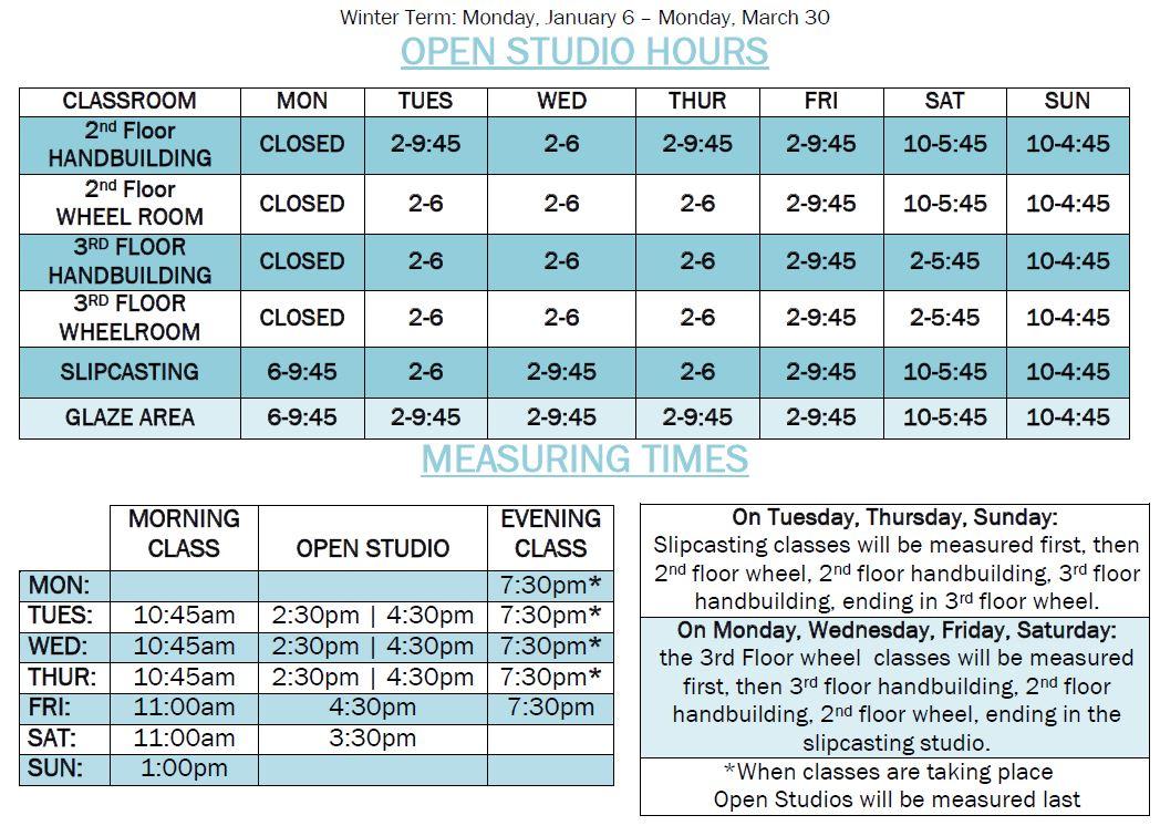 Winter 2020 Open Studio Hours
