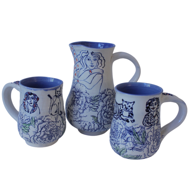 Kate Missett, mug and pitcher set