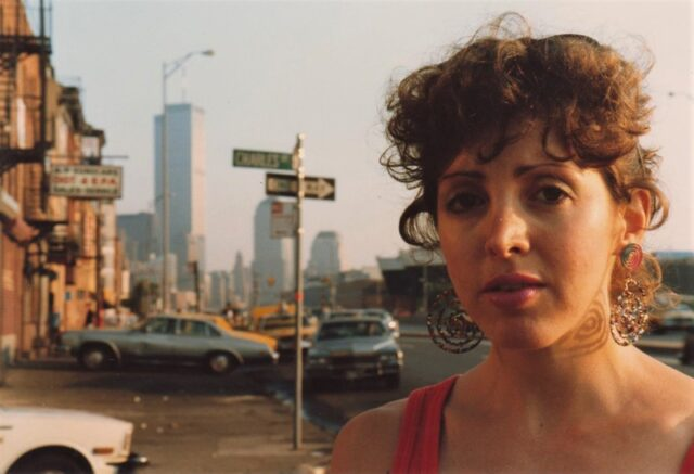 Woman in front of the Twin Towers.